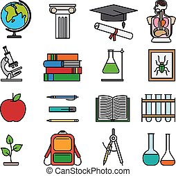 Education color line icons. Outline colored images of books,...