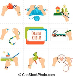 Creative kids hands icons. Pictures of kids hands painting,...