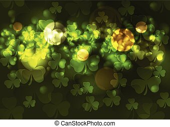 Green blurred bokeh background with clovers