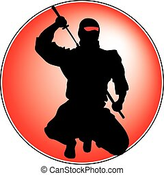 Black ninja on red - Super ninja with sword on red