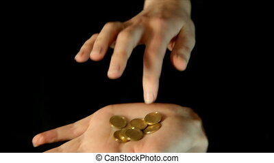 hands counting money on black background - HD video...