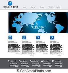 Vector web site design template with globe