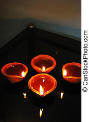 diya - group of traditional diyas