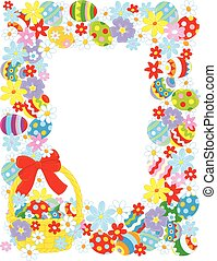 Easter border - Vertical vector frame with a decorated...