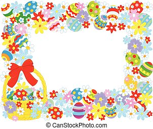 Easter border - Horizontal vector frame with a decorated...