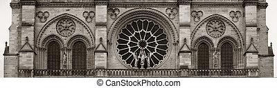 Notre Dame de Paris closeup view panorama as the famous city...