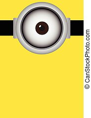 Vector illustration of goggle with cyclops on yellow color...