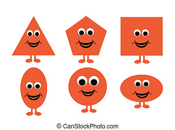 Illustration of shapes with a happy cartoon face, great for kids learning basic geometry