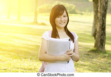 Young Asian college girl student