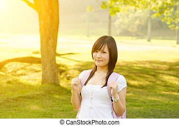Young Asian college girl student portrait