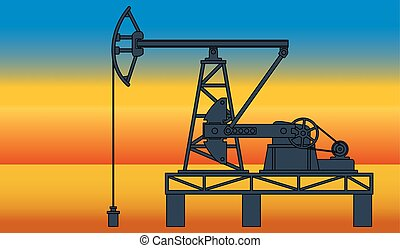 Oil pumpjack - Industrial evening landscape with the oil...