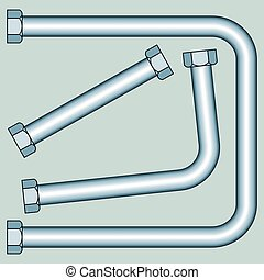 Pipe with screw nuts - Illustration of the pipes with screw...