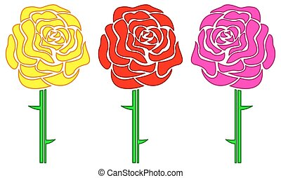 Roses - Illustration of the rose flowers set