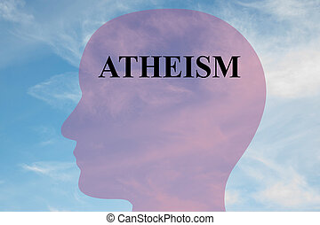 Atheism concept - Render illustration of Atheism title on...