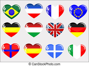 Flags glass heart - Flags of the countries located in glass...