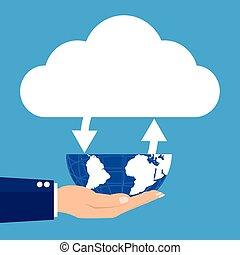 Businesman holding globe with conneted cloud on blue...