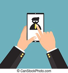 Businessman choosing the right personal the best candidate on internet smart phone tablet. Vector illustration recruitment and job search concept.
