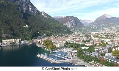 Aerial footage of Riva del Garda, Italy - Aerial footage of...