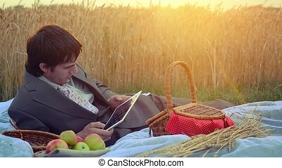 Young handsome businessman use tablet on a picnic. 1920x1080