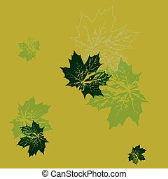 vector illustration. seamless wallpaper. green maple leaves