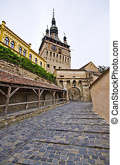 Famous tower of Sighisoara, Romania - The tower of...