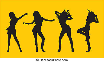 Dancing girl - Abstract vector illustration of dancing girl