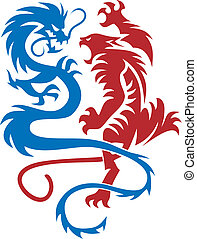Tiger & Dragon - Abstract vector illustration of chinese...