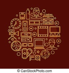 Cinema vector round illustration - Cinema vector...