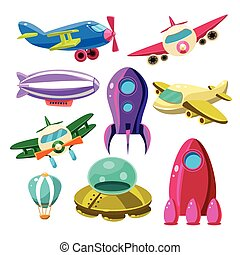 Aviation, Airplanes, Space Shuttles, Hot Air Balloons Set