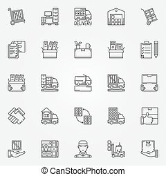 House or office moving icons - vector set of moving services...