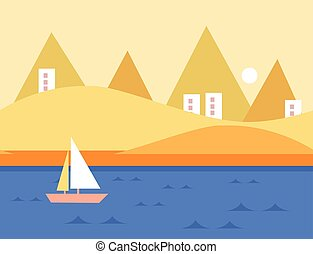 Seamless Cartoon Nature Landscape with Yacht, Vector Illustration