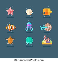 Inhabitants of Sea and Ocean Flat Vector Illustration Set -...