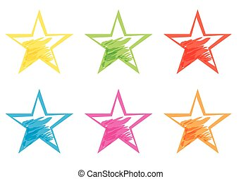 Hand drawing Star collection