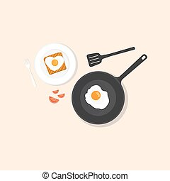 Fried eggs on pan