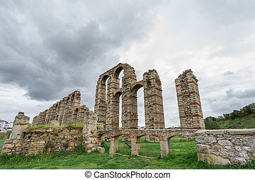 Wide Aqueduct of the Miracles in Merida, Spain, UNESCO -...
