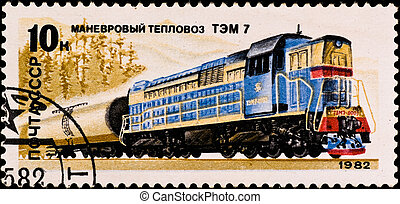postage stamp shows russian train - USSR - CIRCA 1982:...