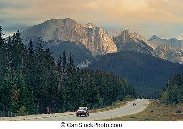 Banff National Park - Highway in Banff national park at...