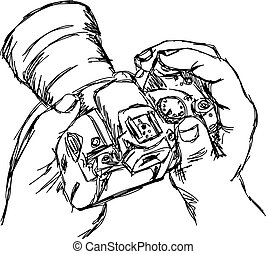 illustration vector doodle hand drawn of sketch hand holding camera isolated on white.