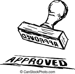 illustration vector doodle hand drawn of sketch Approved Stamp with Wooden handle Rubber Stamper.