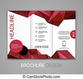 Abstract vector template design, brochure,  page, leaflet, with colorful geometric triangular backgrounds