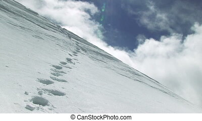 Snowy Mountainside With Footprints - snowy mountainside with...