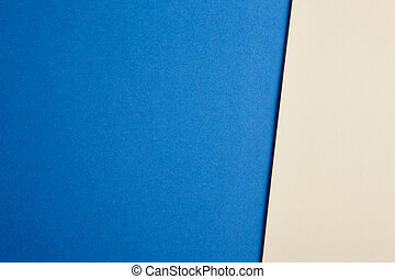 Colored cardboards background in blue, beige tone Copy space...