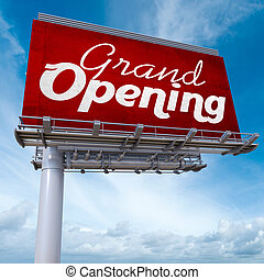 Grand opening billboard - 3D rendering of an advertising...
