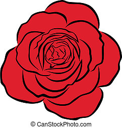 Red rose - Abstract vector illustration of red rose