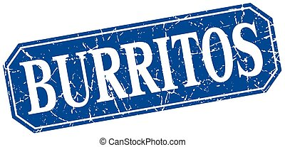 burritos blue square vintage grunge isolated sign