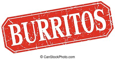 burritos red square vintage grunge isolated sign