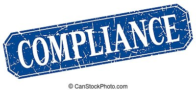 compliance blue square vintage grunge isolated sign