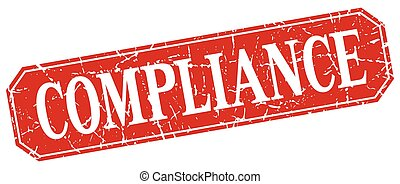 compliance red square vintage grunge isolated sign