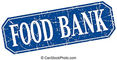 food bank blue square vintage grunge isolated sign