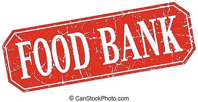 food bank red square vintage grunge isolated sign